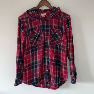 TNA Aritzia red & blue flannel button down shirt with hood size small
